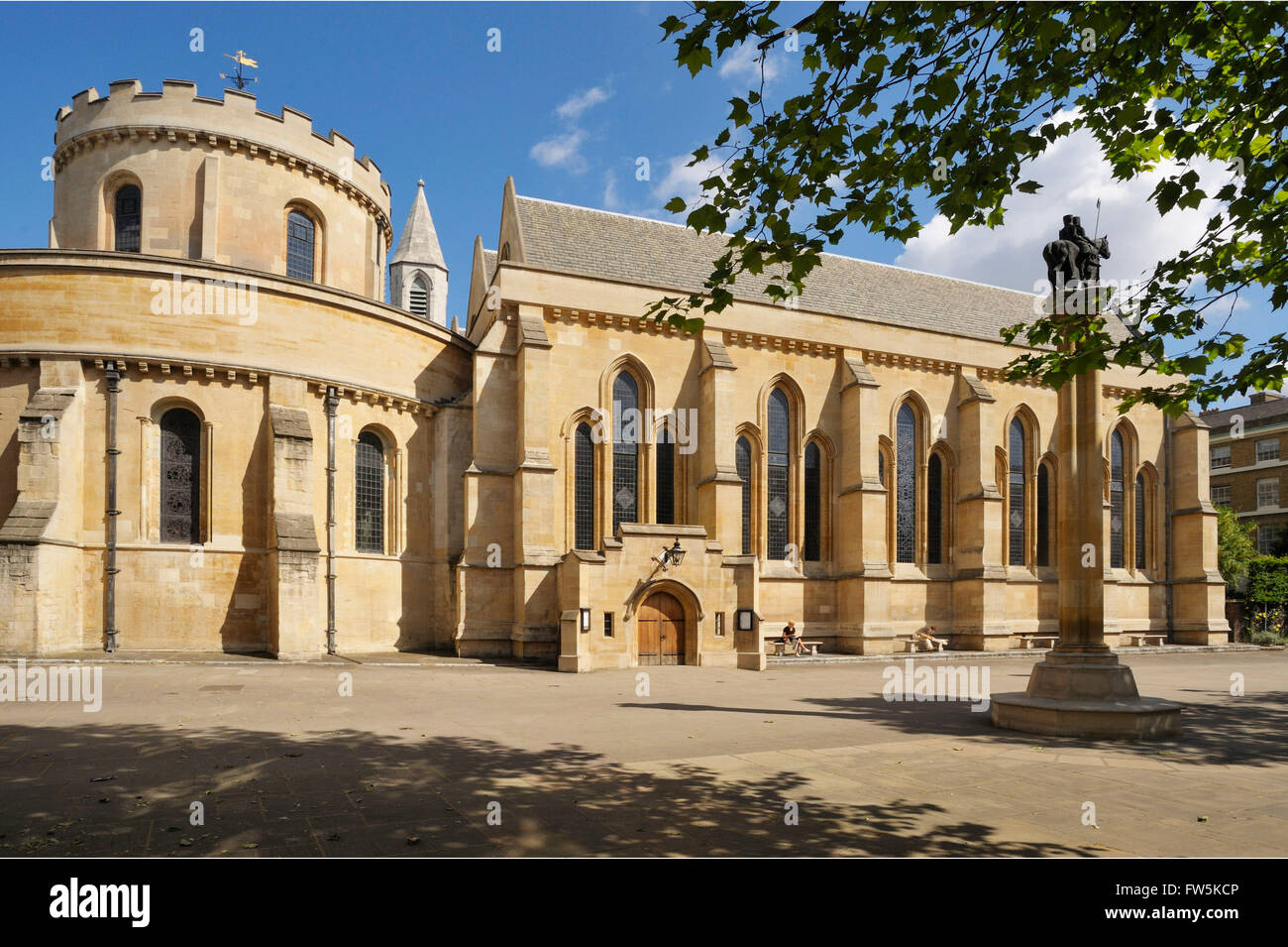 exterior of Middle Temple Church, first built by the Knights Templar in the 12th century. The legal chambers of - Stock Image