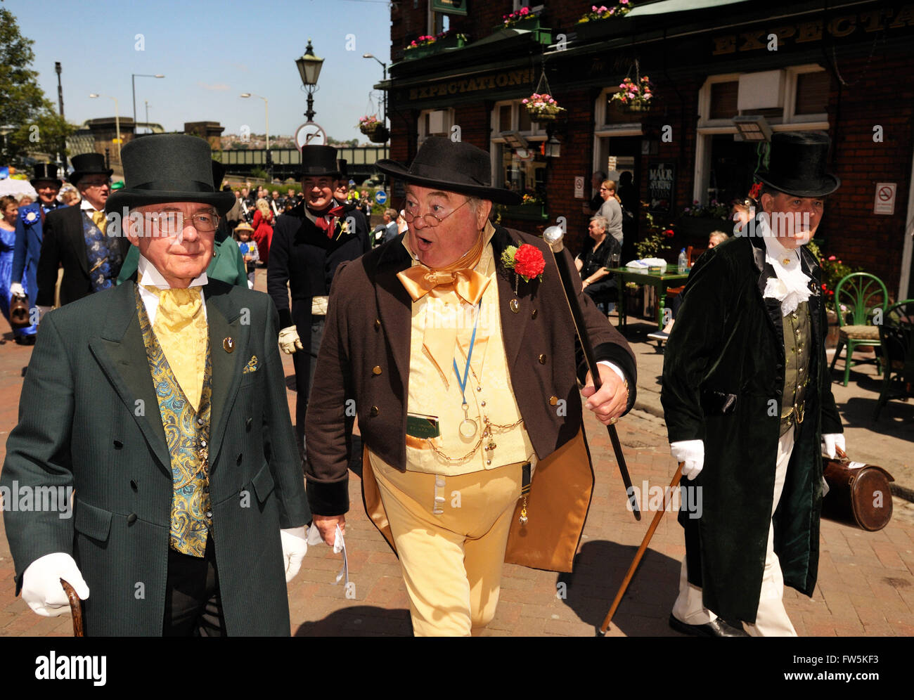Dickens Festival - three gentlemen in Victorian costume, from the City of Rochester Pickwick Club, Rochester Dickens - Stock Image