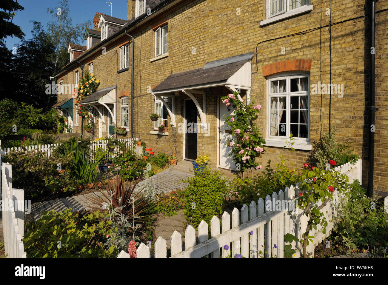 Victorian cottages to the side of the last home of Charles Dickens, novelist, at Gad's Hill Place, Higham, Rochester, - Stock Image