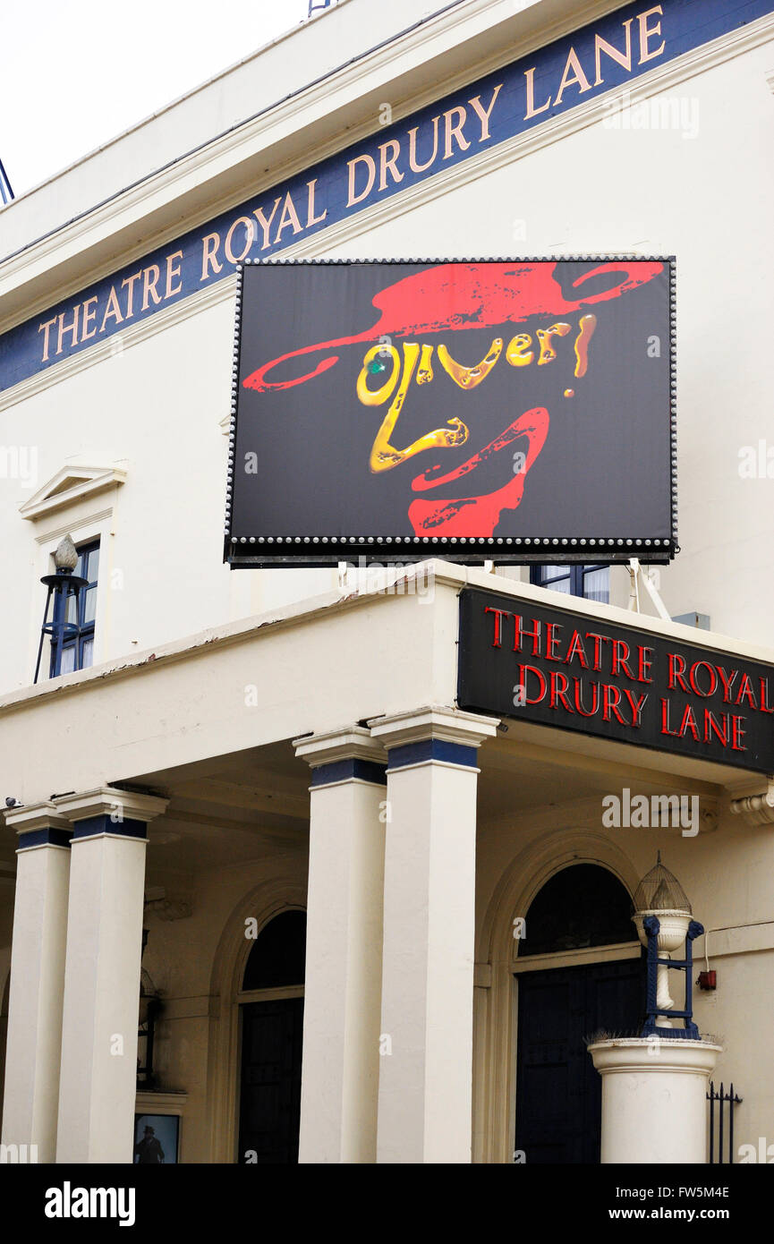 Theatre Royal, Drury Lane, Covent Garden, London WC2, showing sign for 'Oliver', hit musical with music - Stock Image