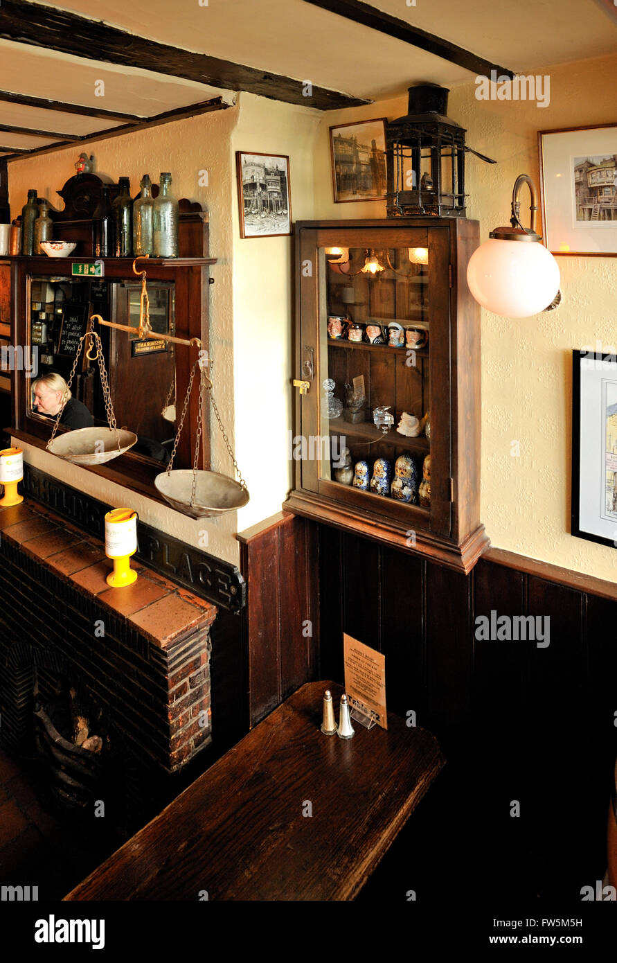 Interior of pub, with Victorian fittings, The Grapes public house, Limehouse, Narrow St., , over the River Thames. - Stock Image