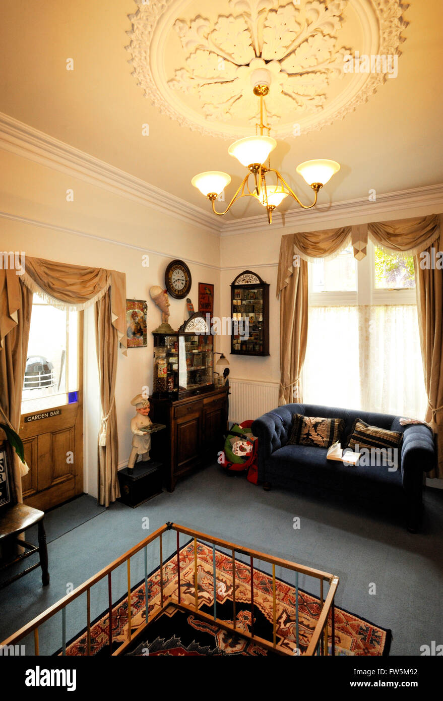 the parlour of 27 Victoria Grove, Southsea, Portsmouth. The home of Frances (Fanny) Eleanor Trollope (d.1913), traveller, - Stock Image