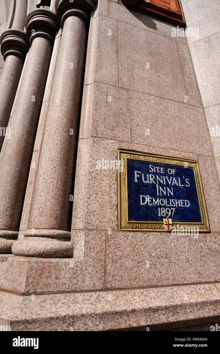 plaque where Furnival's Inn was demolished 1897, Holborn, London. English novelist Charles Dickens lived in chambers Stock Photo