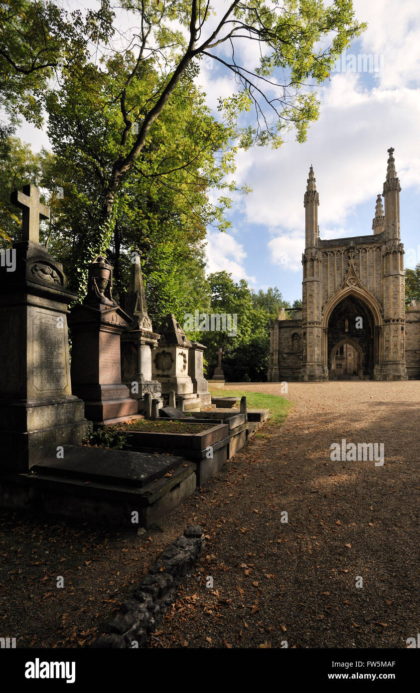 Nunhead Cemetery, Peckham, London. Anglican chapel by architect Thomas Little, 1844, pupil of Robert Abraham. Decorated - Stock Image