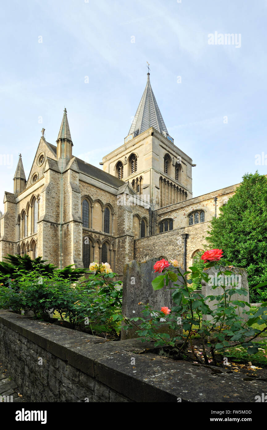RochesterCathedral. The cathedral features in Charles Dickens's last novel, The Mystery of Edwin Drood, and - Stock Image