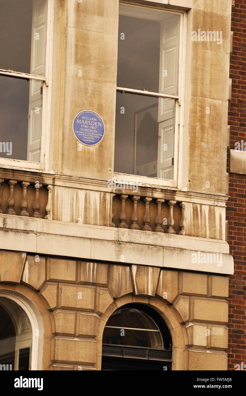 William Marsden - commemorative blue plaque on house in Lincoln's Inn Fields, London, UK. English surgeon and - Stock Image
