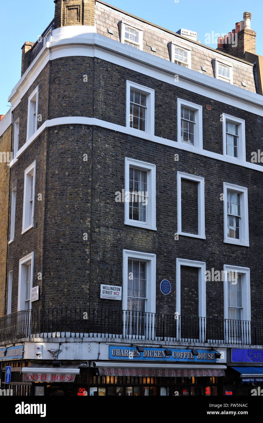 the offices of English novelist Charles Dickens, over the CHarles Dickens Coffee House, on the corner of Wellington - Stock Image