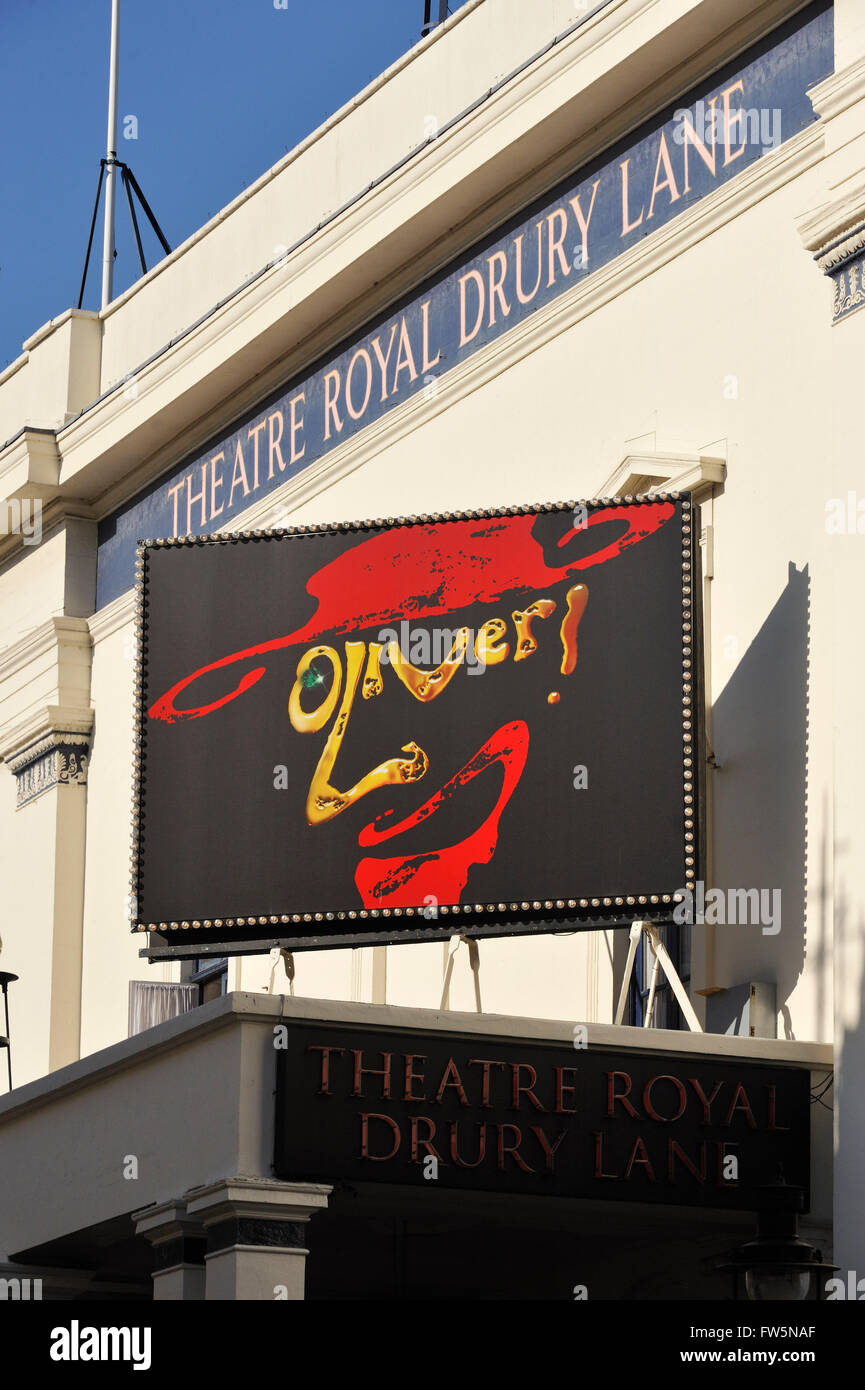 Oliver'. Long-running musical by Lionel Bart of novel by Charles Dickens. Theatre sign on the Theatre Royal - Stock Image