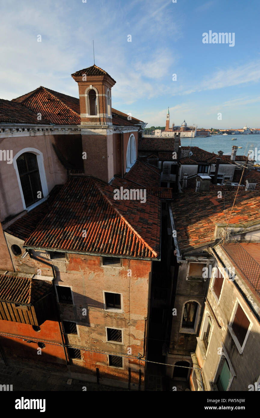 Vivaldi orphanage interior courtyards, and view over lagoon: the Ospedale della Piet'/ 'hospital' / - Stock Image