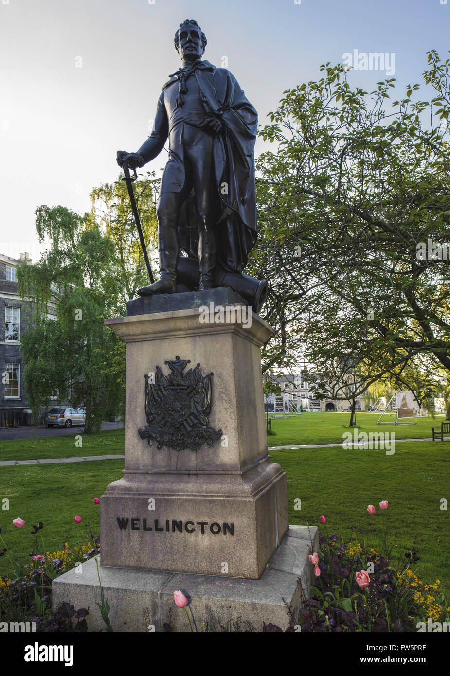 Wellington statue, in grounds of Norwich Cathedral. Field Marshal Arthur Wellesley, 1st Duke of Wellington,1769 - Stock Image