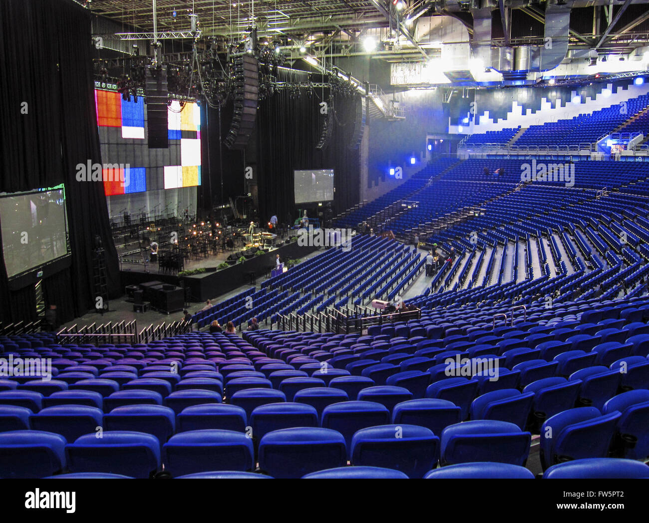 Dublin The O2 Arena, seating and stage. The O2 (stylised as The O2) is a 14,500-capacity amphitheatre located at - Stock Image