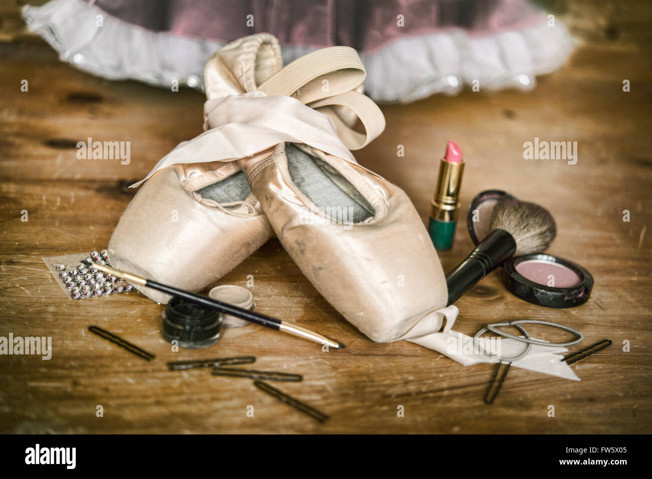 Backstage a Ballerinas Pointe Shoes and Makeup and Hair Accessorie - Stock Image
