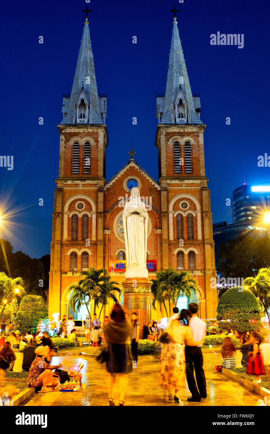 Cathedral Basilica of Our Lady of The Immaculate Conception, Ho Chi Minh City, Vietnam - Stock Image