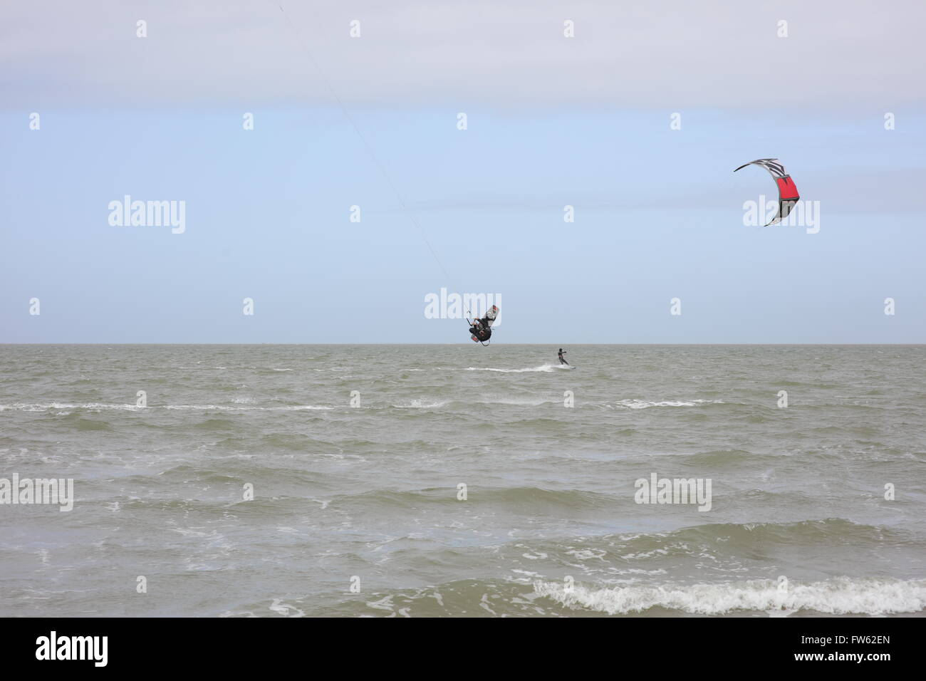 Kite Surfer(s) at Brouwersdam, 4323 Ellemeet, Netherlands Stock Photo