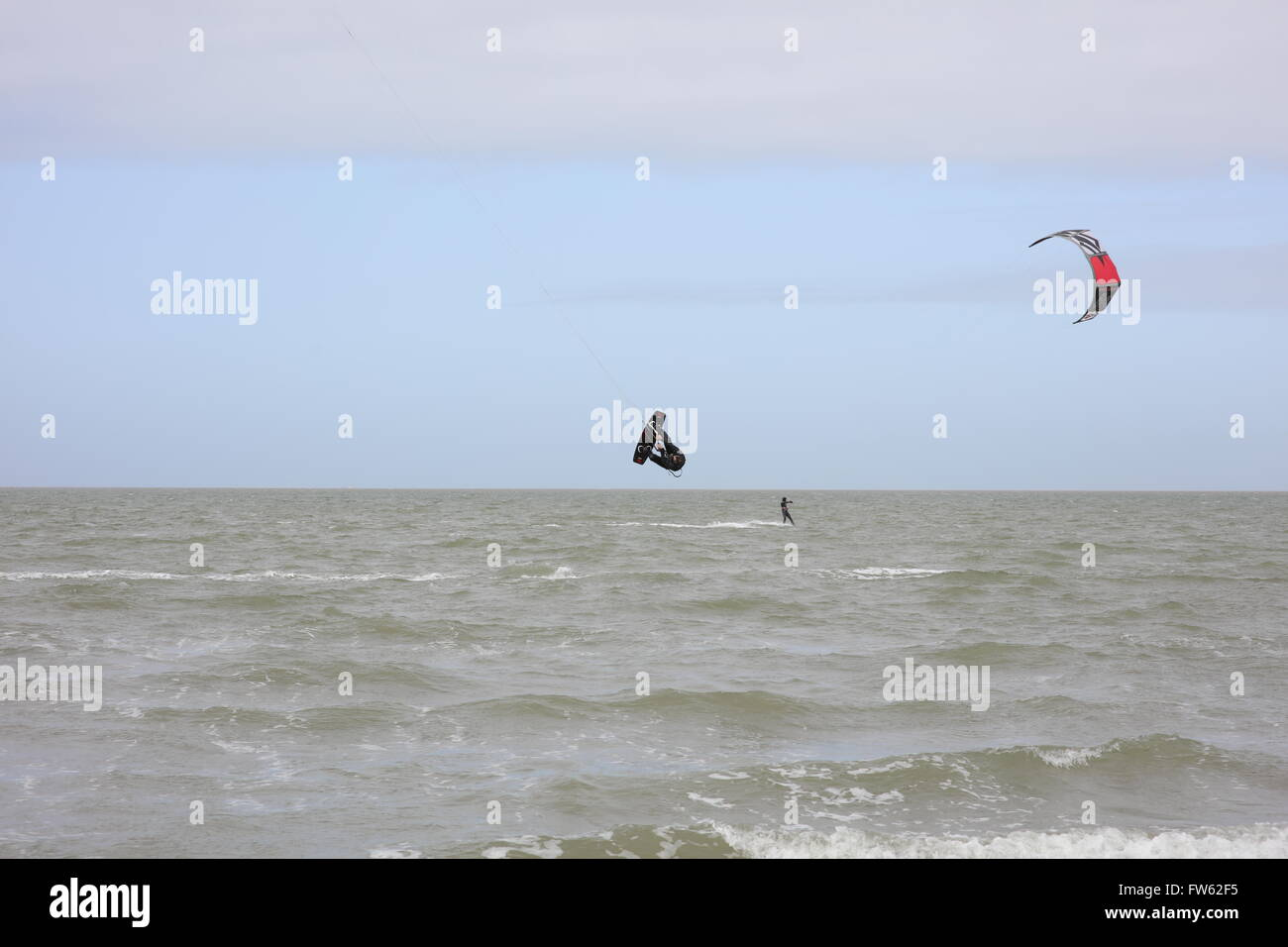Kite Surfer(s) at Brouwersdam, 4323 Ellemeet, Netherlands Stock Photo