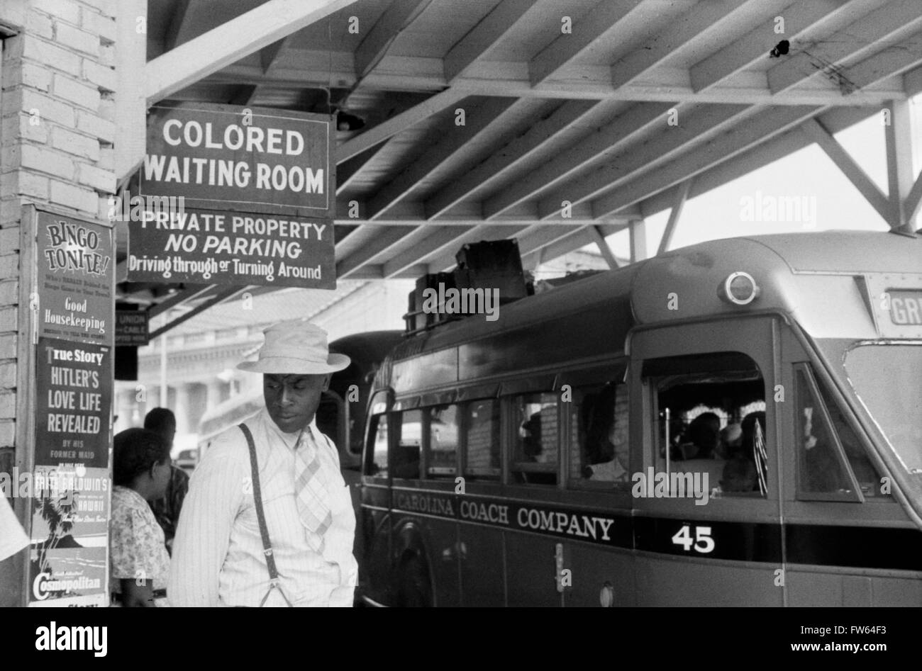 Segregation sign, USA.'Colored Waiting Room' sign at the bus station in Durham, North Carolina, USA. Photo - Stock Image