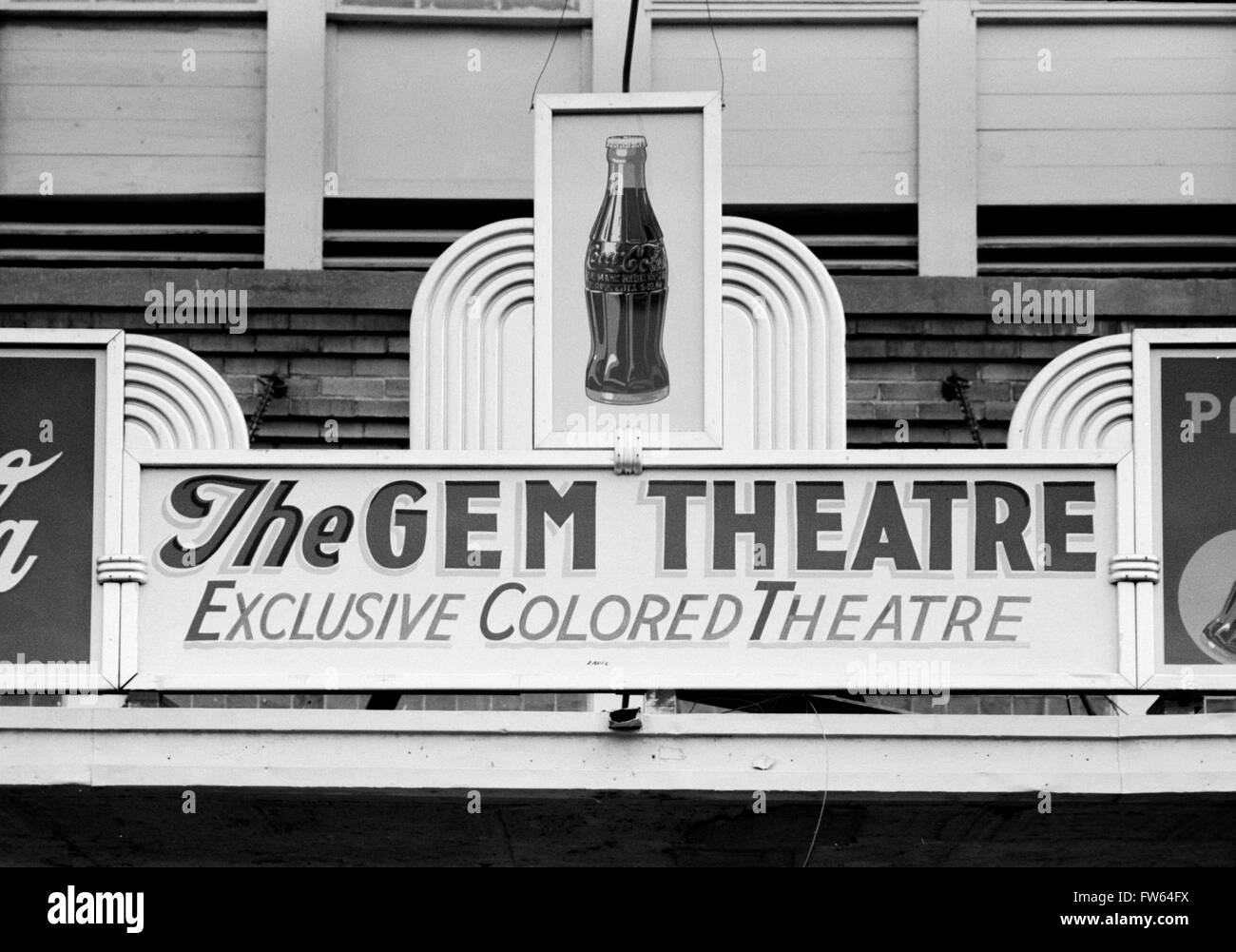 Racial Segregation, USA. 'Exclusive Colored Theatre' sign above a movie theater in Waco, Texas, USA. Photo - Stock Image
