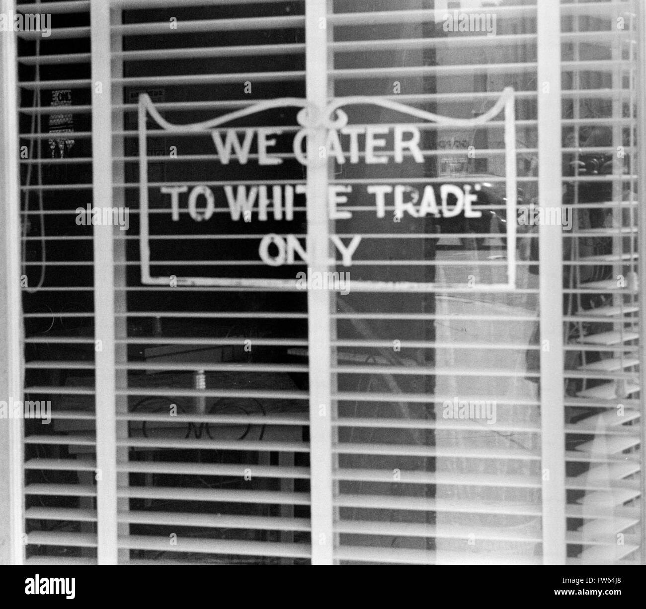 Segregation sign. 'We Cater to White Trade Only' sign in the window of a restaurant in Lancaster, Ohio, - Stock Image