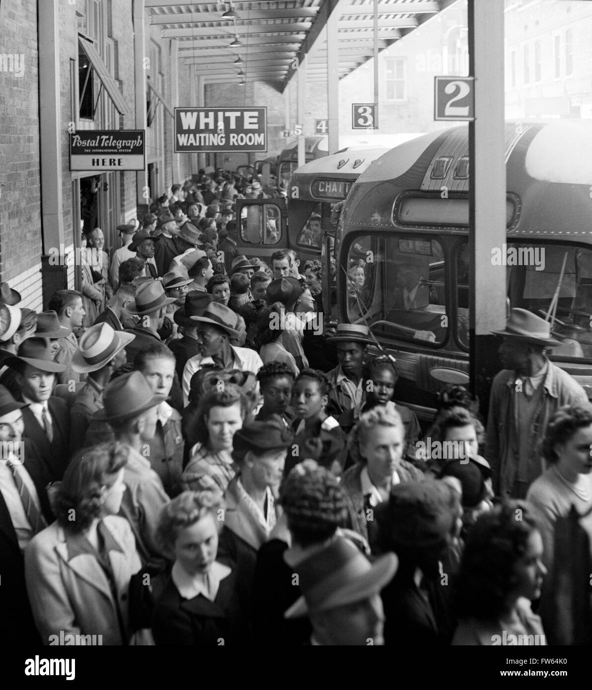 """Segregation. Greyhound bus terminal with a """"White Only Waiting Room"""" sign, Memphis, Tennessee, USA. Stock Photo"""