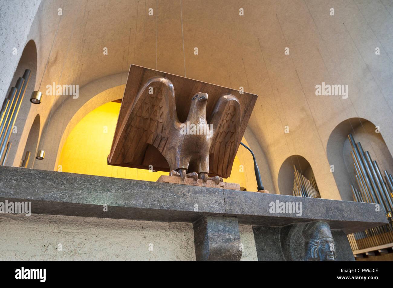 Wooden eagle lectern, Interior, Münsterschwarzach Abbey, Benedictine monastery, 1938, Heimatschutzarchitektur - Stock Image