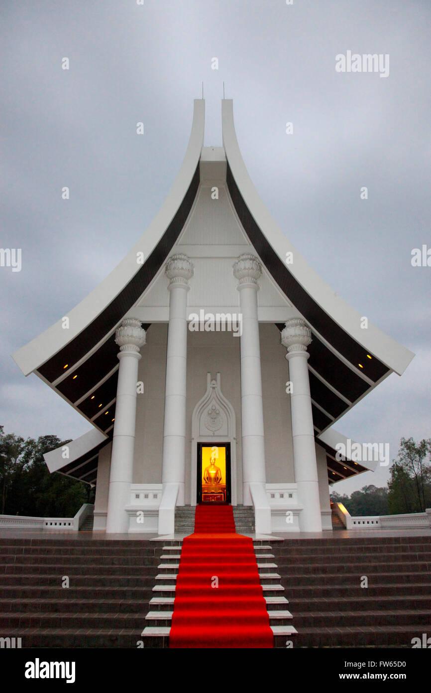 Wat Phra Dhammakaya Temple Illuminated Buddha In The Uposatha Stock