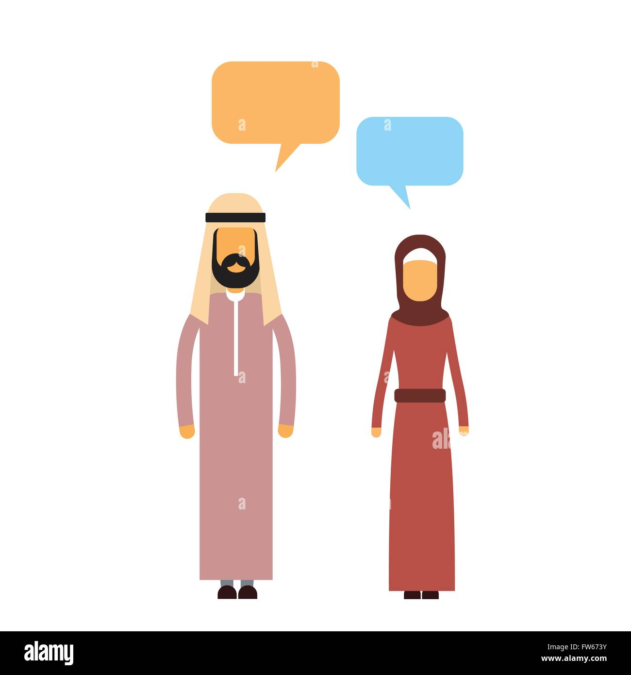 Arab Couple People Talking Chat Communication Social Network - Stock Image