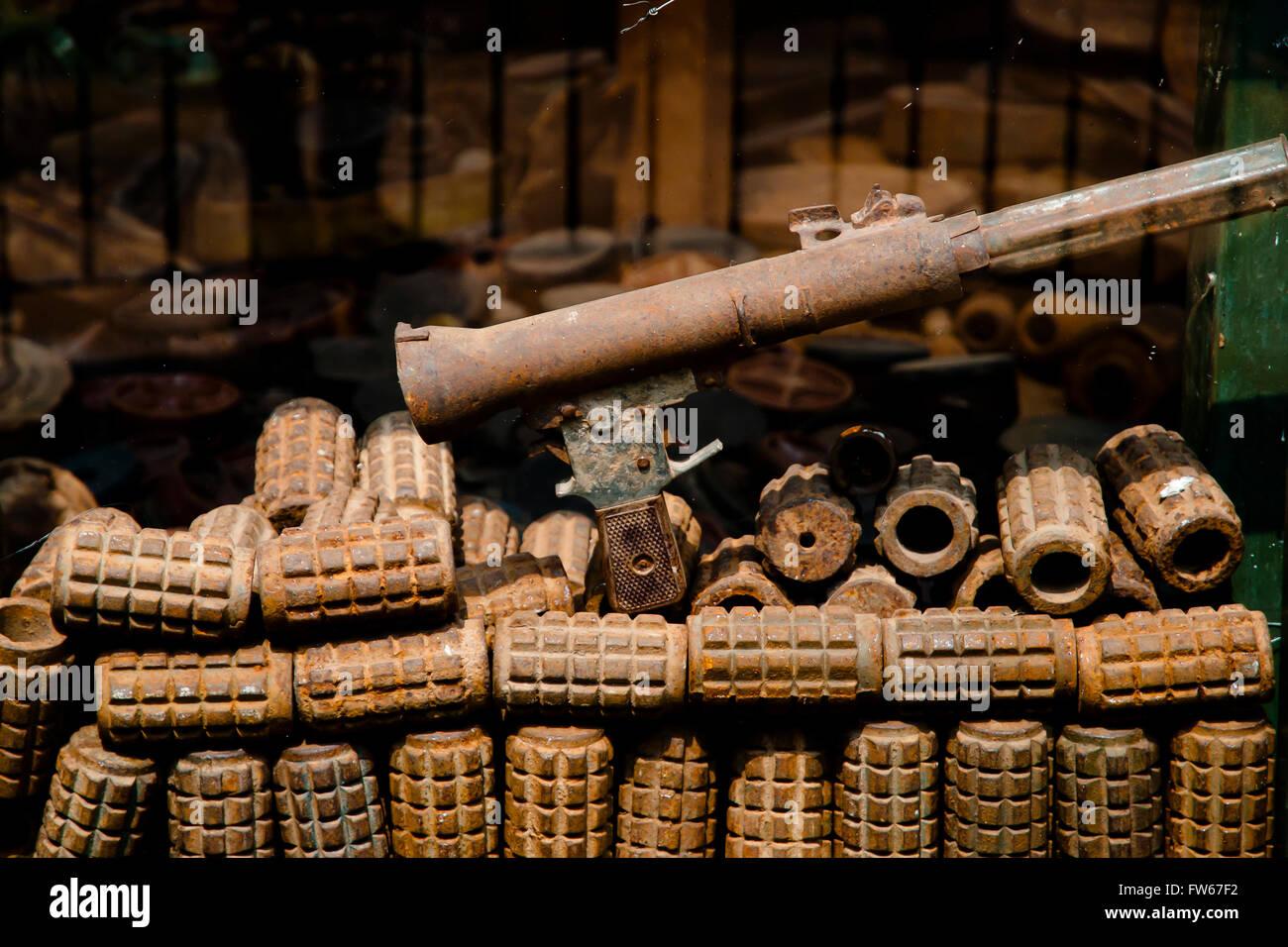 Rusty Grenades in Landmine Museum - Siem Reap - Cambodia - Stock Image