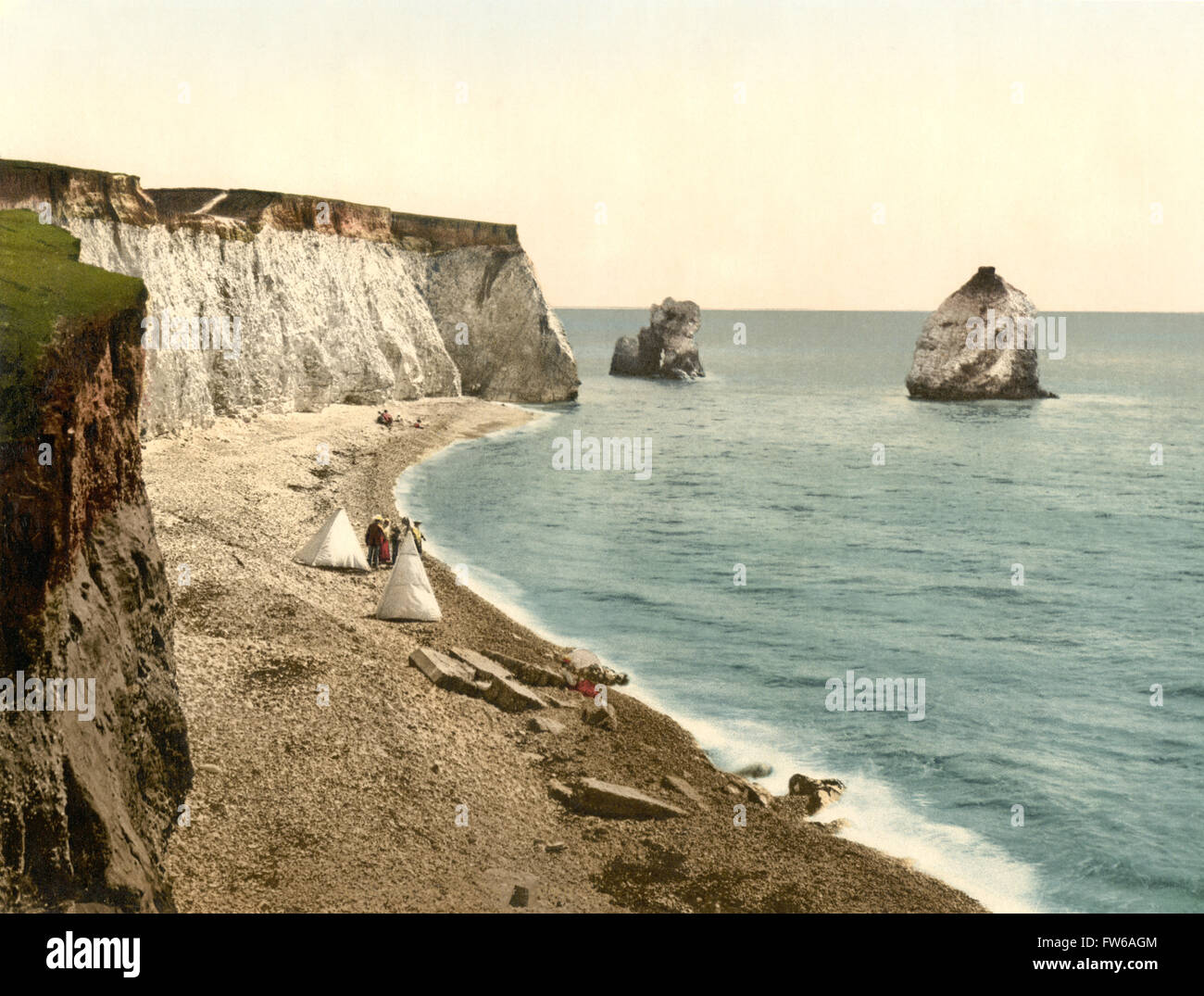 Freshwater Bay Arch and Stag Rocks, Isle of Wight, England, Photochrome Print, circa 1900 - Stock Image