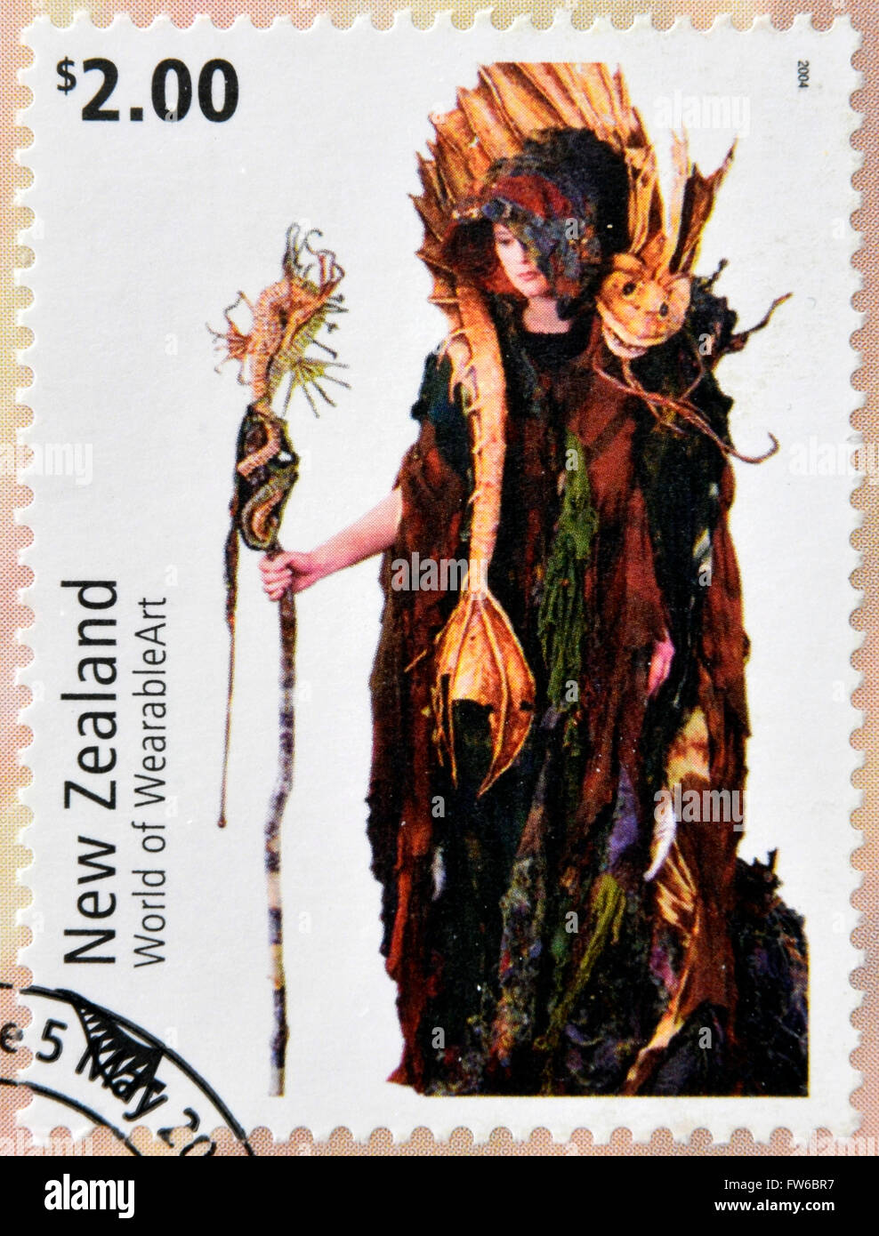 NEW ZEALAND - CIRCA 2004: Stamps printed in New Zealand dedicated to World of WearableArt shows Cailleach Na Mara Stock Photo