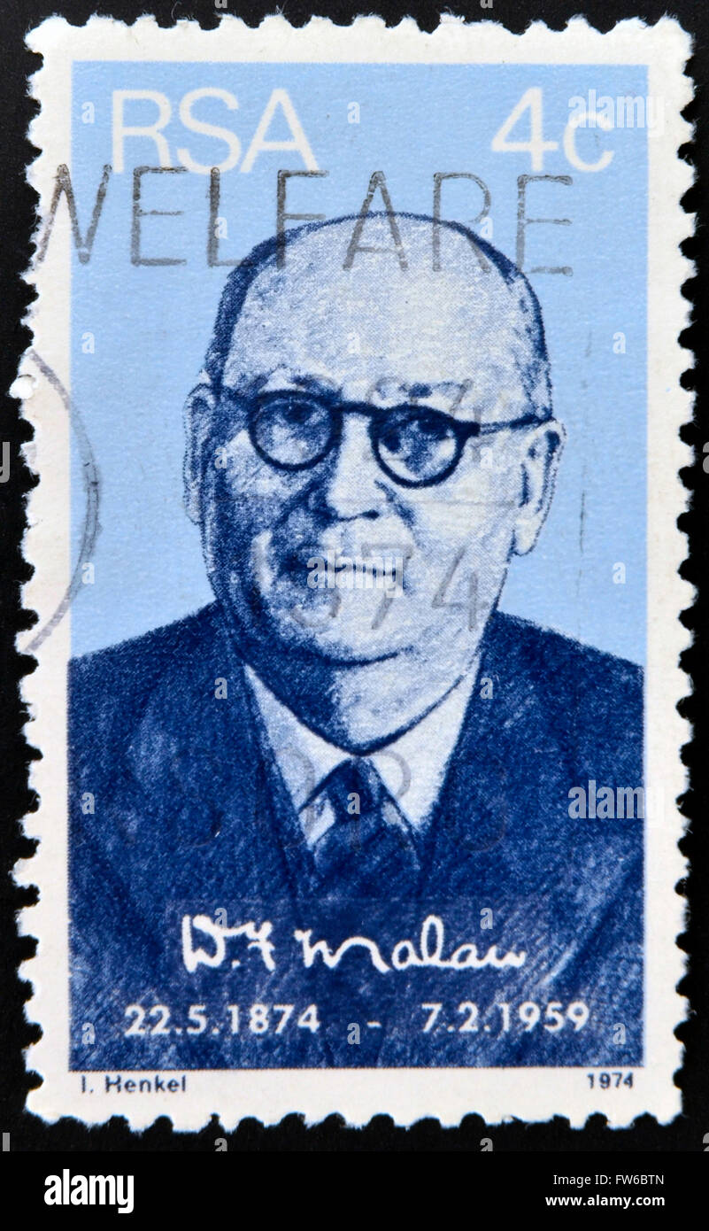 SOUTH AFRICA - CIRCA 1974: A stamp printed in South Africa issued for the birth centenary of Daniel Francois Malan - Stock Image