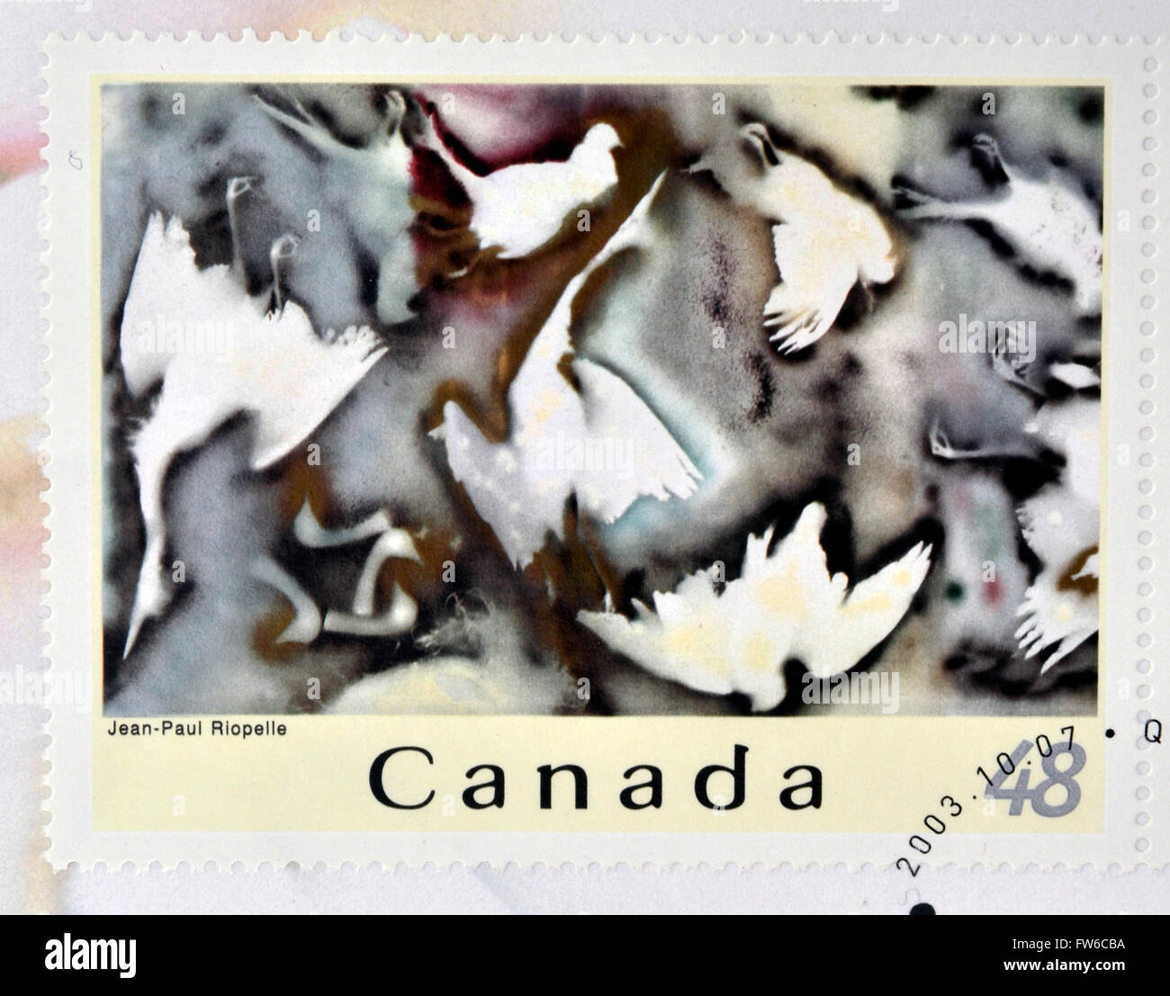 CANADA - CIRCA 2003: A stamp printed in Canada shows an abstract work of Jean Paul Riopelle, circa 2003 - Stock Image