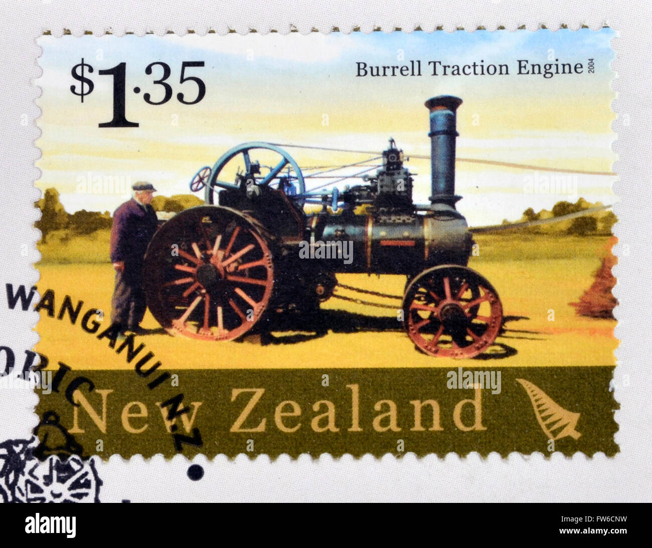 NEW ZEALAND - CIRCA 2004: A stamp printed in New Zealand dedicated to historic farm equipment, shows Burrell Traction Stock Photo