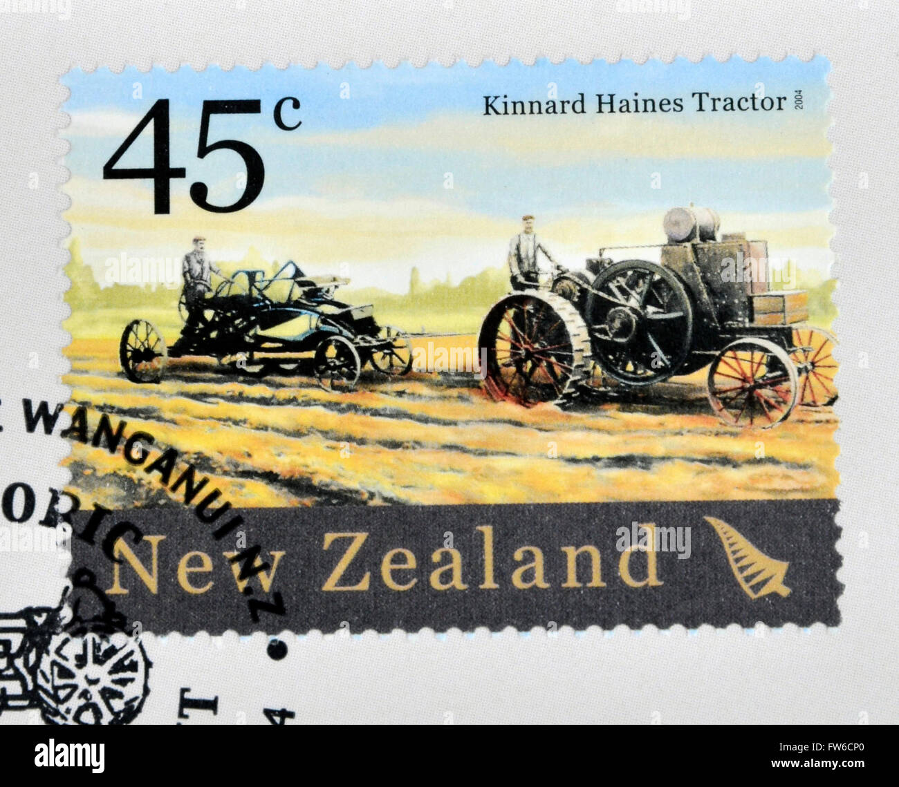 NEW ZEALAND - CIRCA 2004: A stamp printed in New Zealand dedicated to historic farm equipment, shows Kinnard Haines Stock Photo