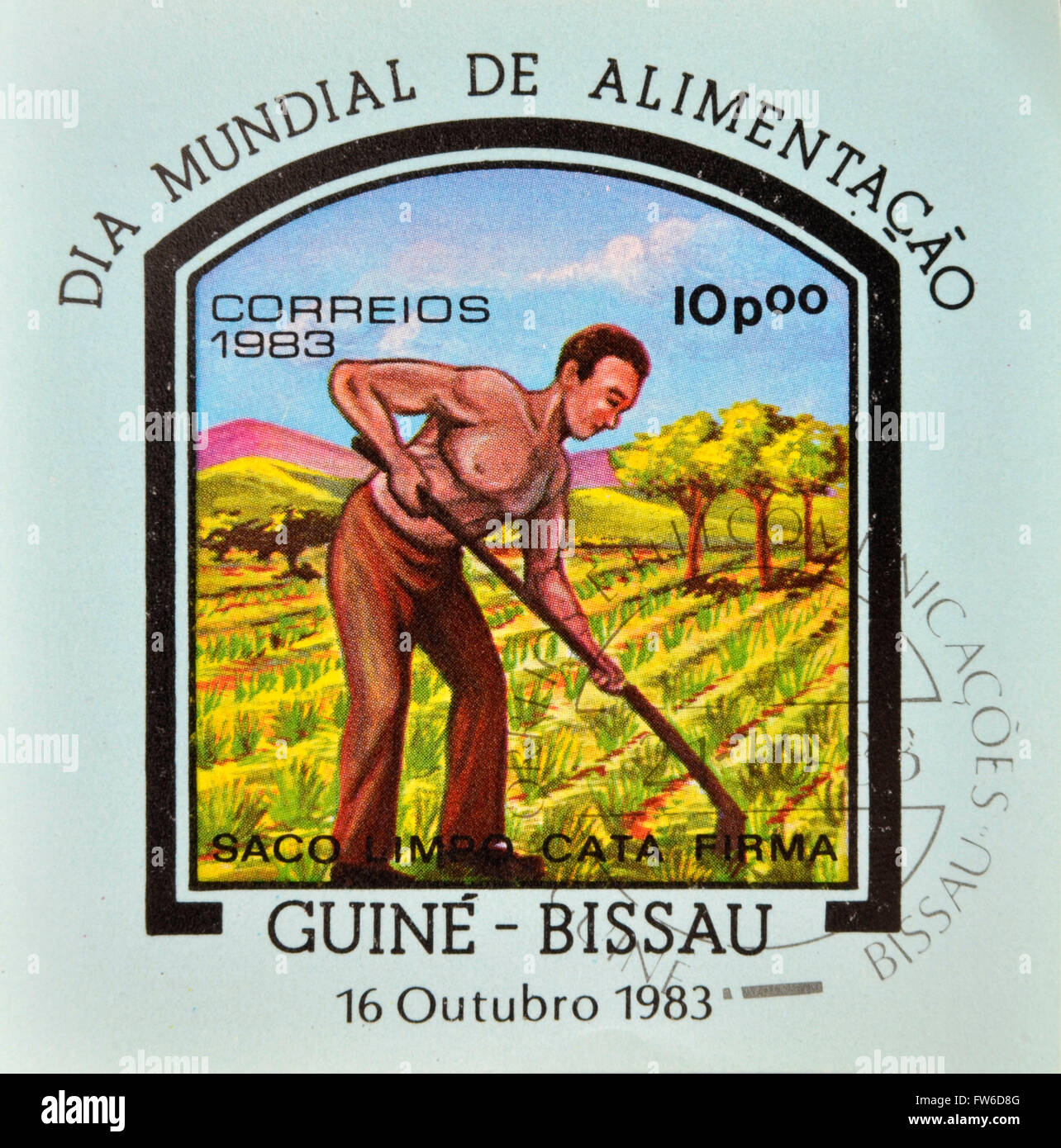 GUINEA-BISSAU - CIRCA 1983: a stamp printed in the Republic of Guinea-Bissau commemorative the world food day, showing - Stock Image