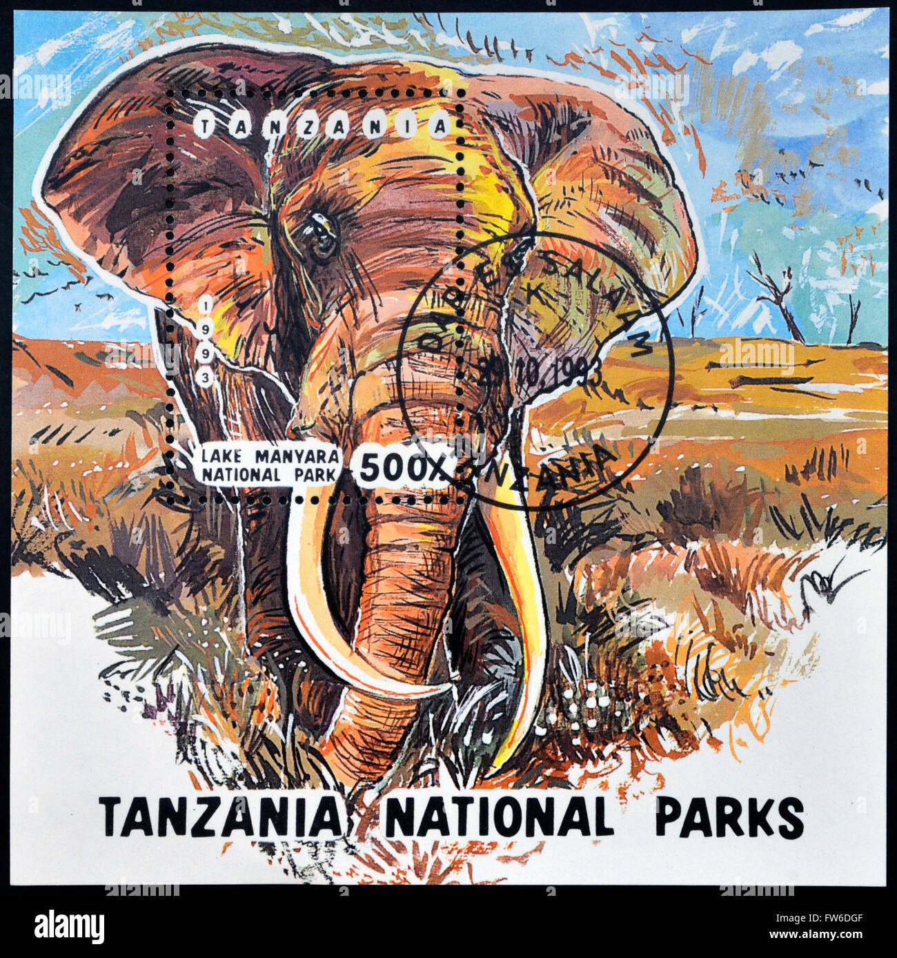 TANZANIA - CIRCA 1993: A stamp printed in Tanzania dedicated to lake manyara national park shows elephant, circa - Stock Image