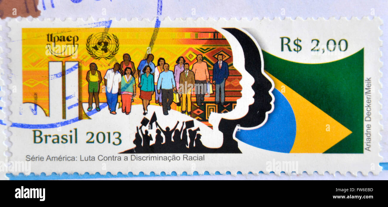 BRAZIL - CIRCA 2013: A stamp printed in Brazil dedicated to the fight against racial discrimination, circa 2013 - Stock Image