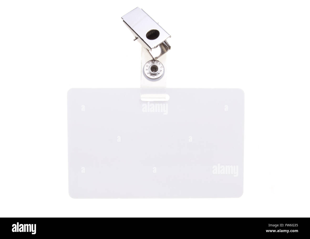 Blank clip on name tag with copy space isolated on white. - Stock Image