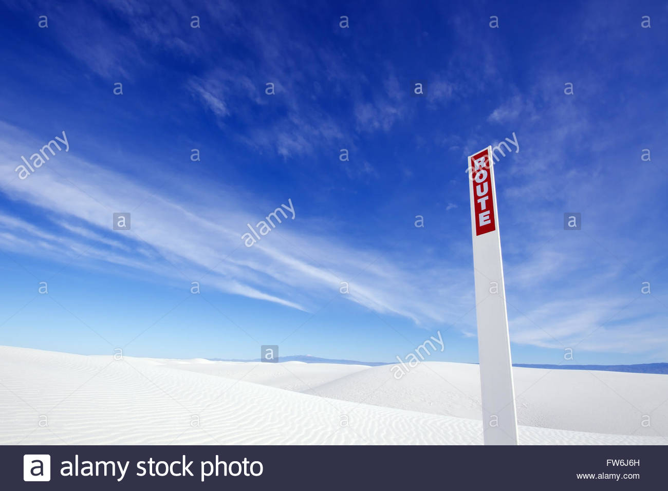 Route Sign, White Sands National Monument, New Mexico - Stock Image