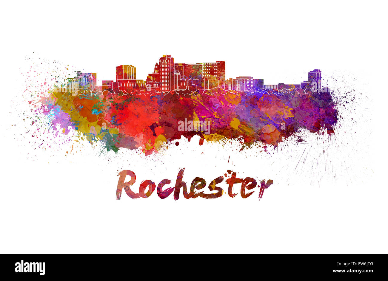 Rochester MN skyline in watercolor splatters with clipping path - Stock Image