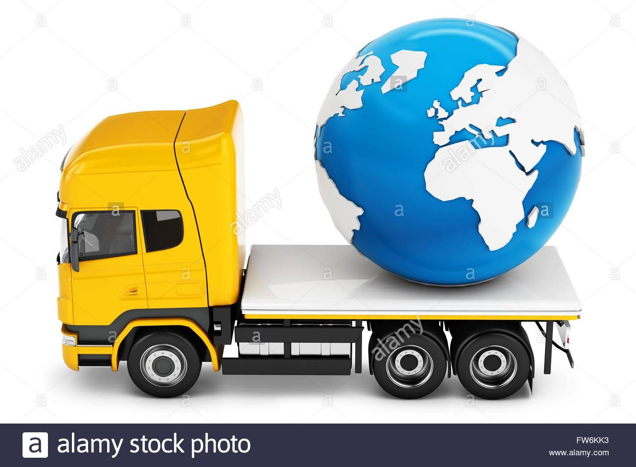 3d truck with earth globe delivery on white background stock photo