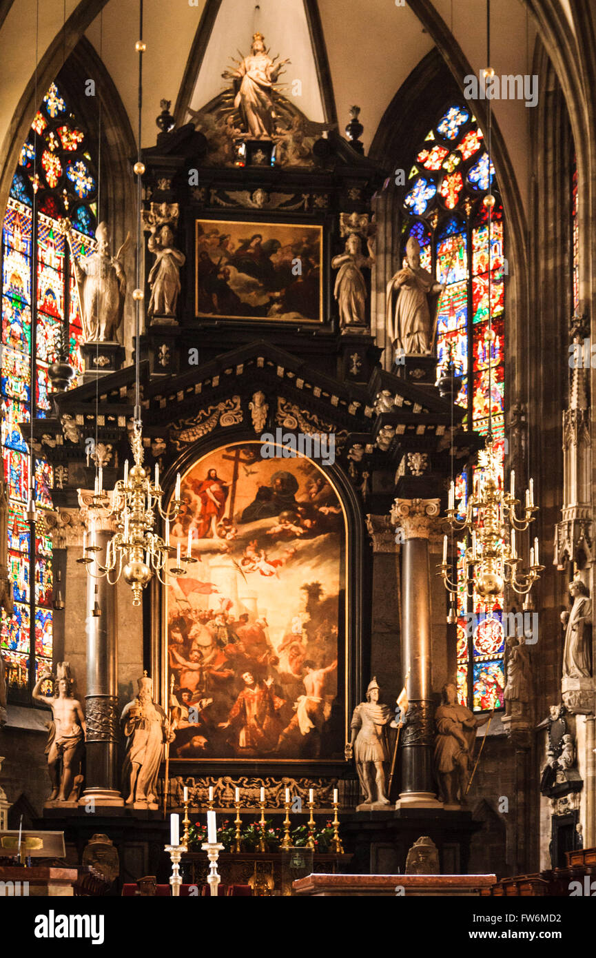 St Stephen's Cathedral high altar, Stephansdom. Built 1641 to 1647 in the baroque style. The altar was built - Stock Image