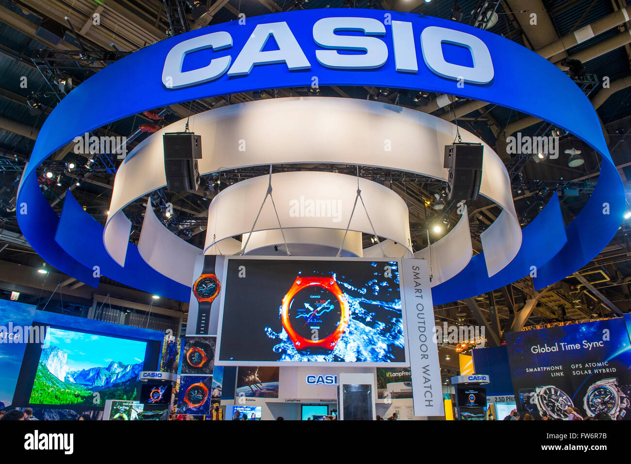 The Casio booth at the CES show in Las Vegas - Stock Image