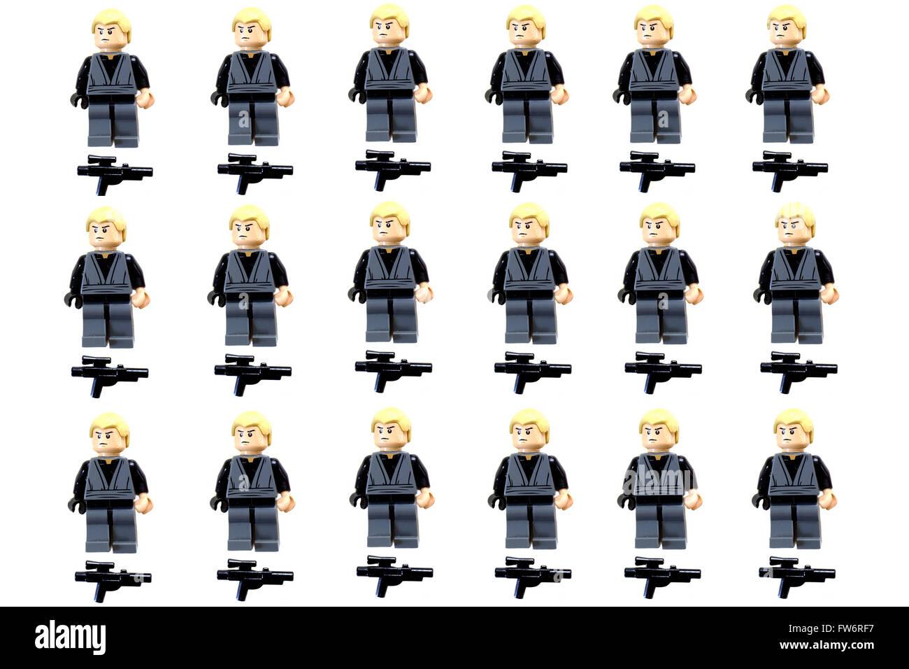 A Grid Of Lego Star Wars Luke Skywalker Figures Photographed Against