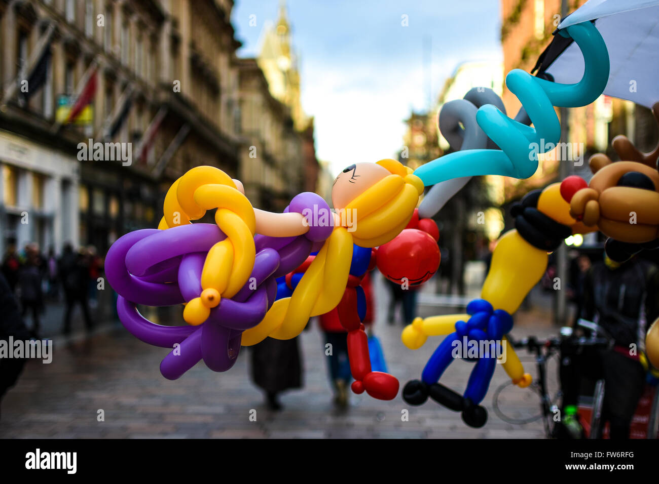 A Balloon Seller Stand in Glasgow City Centre - Stock Image