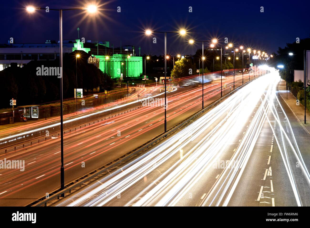 Light trail shot on A40, Hoover building - Stock Image