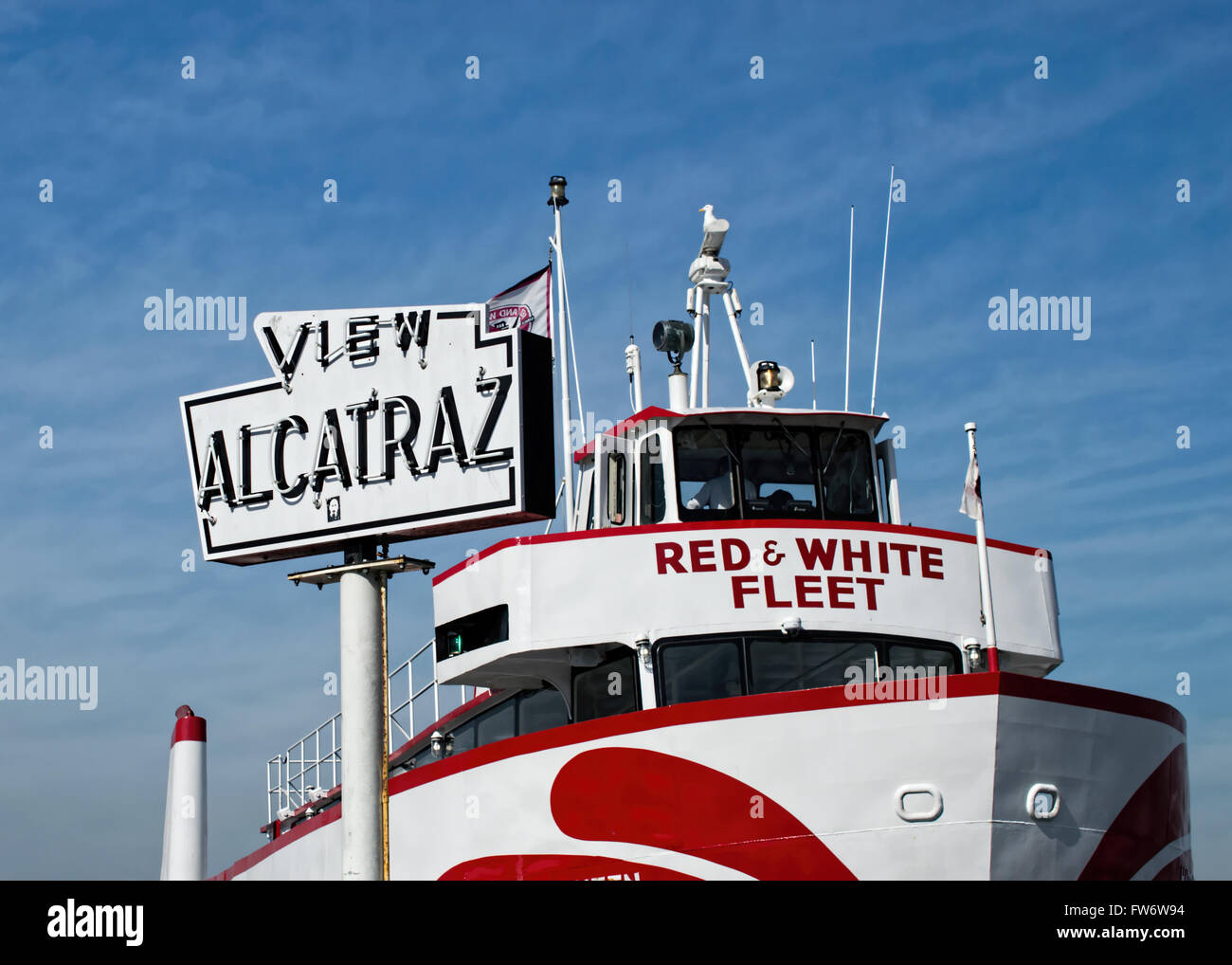 Alcatraz Flyer at the doc of San Francisco's harbor, ready for cruises to Alcatraz - Stock Image