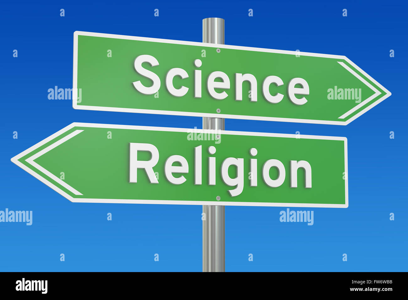 science or religion concept on the signpost, 3D rendering - Stock Image