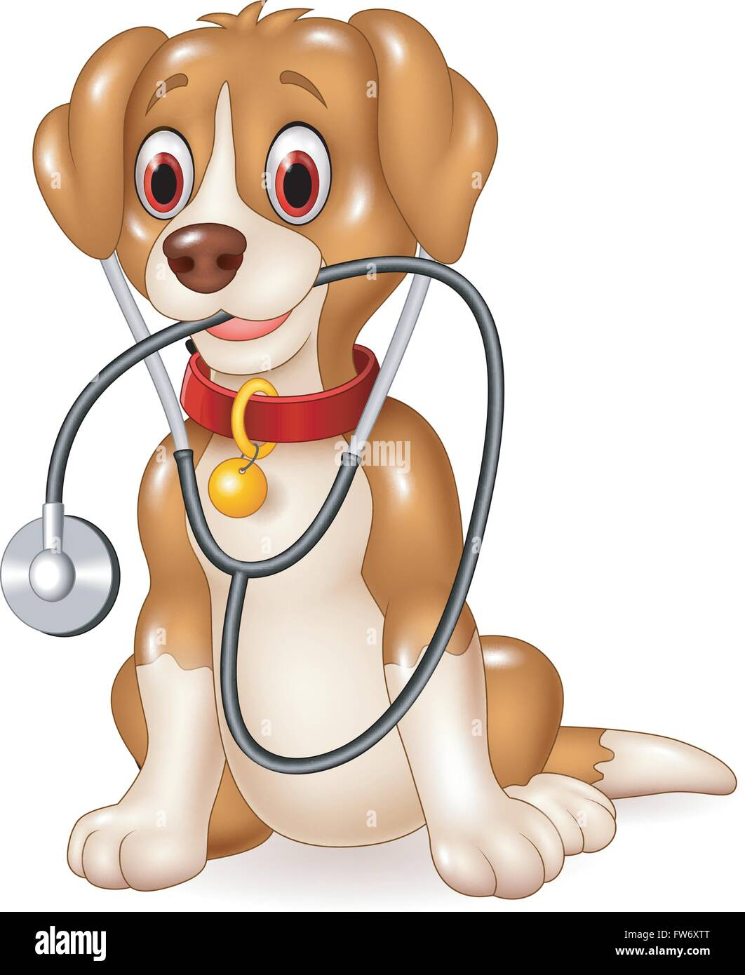 Cartoon funny dog sitting with stethoscope - Stock Vector