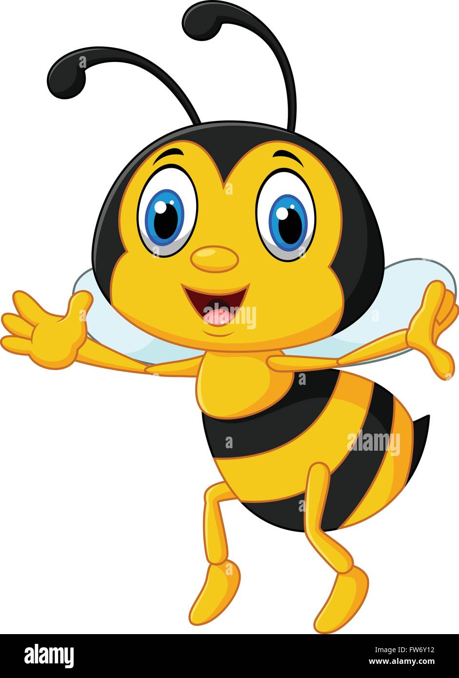 Funny Bee Flying Isolated On White Background Stock Vector Art