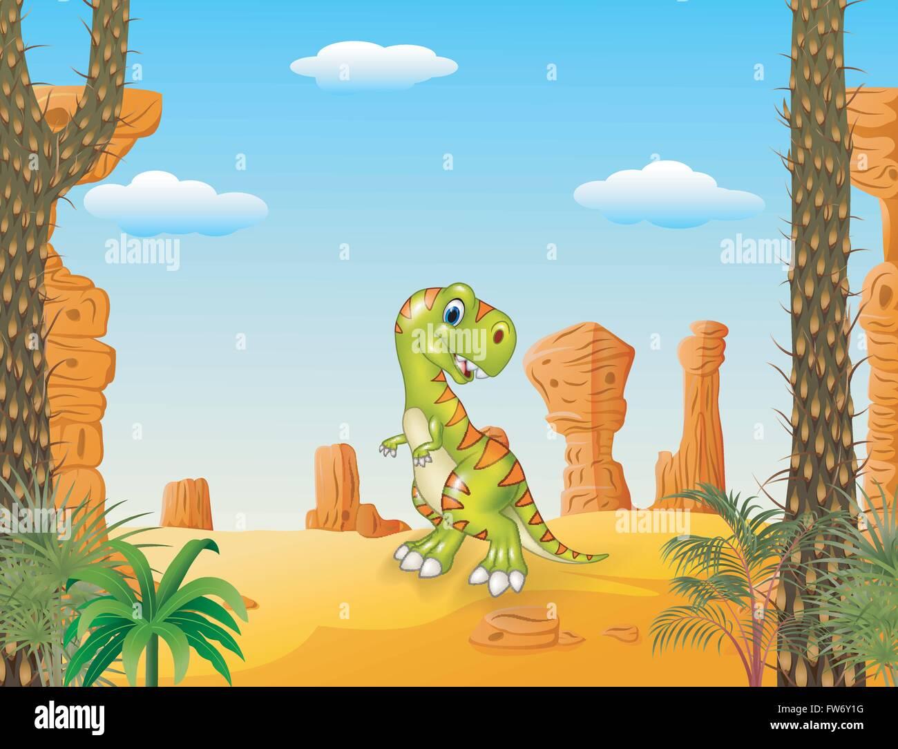 Cartoon Happy Dinosaur With The Desert Background Stock Vector Art